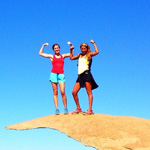 FearlesslyFitt creators, Jessie Arnold and Andrea Nunez-Smith, show their fit skills at the end of a hike on Potato Chip Rock.