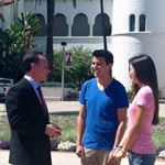 President Hirshman with SDSU students outside of Hepner Hall.