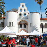 Tents set up in front of Hepner Hall for Explore SDSU