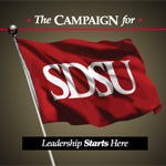 Campaign flag with Leadership Starts Here tagline