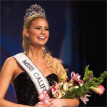 Cassie Kunze on stage at the Miss California pageant