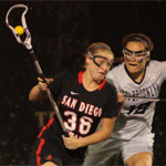 Francesca Ventola fights off a LIU Brooklyn lacrosse player