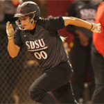 Hayley Miles, SDSU softball, running to a base