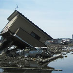Damage caused by the tsunami in Kesennuma, Japan.