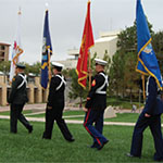 SDSU veterans holding flags