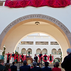 A crowd gathered to celebrate the largest gift to The Campaign for SDSU.