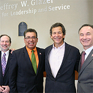 (From left to right): J. Cole, president Associated Students; Geoff Chase, dean of Undergraduate Studies; Eric Rivera, Vice President for Student Affairs; Jeff Glazer; and President Elliot Hirshman du