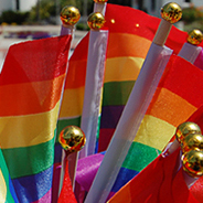 SDSU rainbow flag car