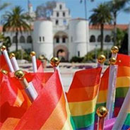 Rainbow flags in front of Hepner Hall