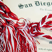 Red and white commencement cords