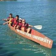 SDSU civil engineering students row their concrete canoe in an engineering challenge in Tucson, Arizona.