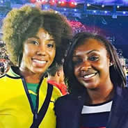 Shanieka Thomas (left) and Whitney Ashley (right) at the opening ceremony of the Rio Olympics.