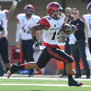 Donnel Pumphrey rushed for 220 yards and three touchdowns in a 42-28 win over Northern Illinois on Sept. 17. (Photo: Ernie Anderson)