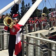The Marching Aztecs posing on the Pedestrian Bridge was one of the top photos of 2016. (Credit: SDSU)