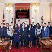 The 2016-2017 Class of Senate Fellows congregate at the California State Capitol. (Photo Credit: Tyler Aguilar)