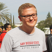 Aztec Proud scholarship recipient Zackary Albrecht greets student donors at the Philanthropy Day celebration. (Photo: Tobin Vaughn)