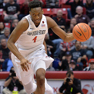 SDSU guard Dakarai Allen dribbles past a Fresno State defender. (Photo: Ernie Anderson)
