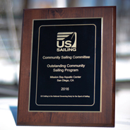 The U.S. Sailing Community Sailing Committee awarded the Outstanding Community Sailing Program Award to the MBAC. (Credit: MBAC)