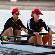 The SDSU rowing team during a competition. (Credit: GoAztecs)