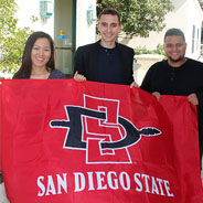 "From left to right: Bernardo Paterniti, Muzi ""Lily"" Li, Abdulaziz Alhubail. (Credit: SDSU International Student Center)"