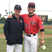 SDSU baseball player Chad Bible (right) has remained an integral part of the Aztec baseball team throughout his ongoing treatment. (Credit: SDSU Athletic Department)