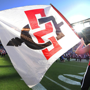 SDSU Flag at Qualcomm Stadium (Photo: Ernie Anderson)