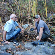 SDSU geography professor Trent Biggs (left) and reserve manager Pablo Bryant
