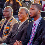 Associated Students President Chimezie O. Ebiriekwe (second from the right) and Vice President for Student Affairs Eric Rivera (far right) at the opening of the Black Resource Center.