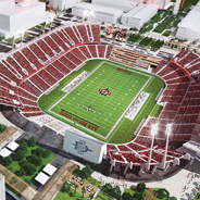 Aerial Rendering of Aztec Stadium