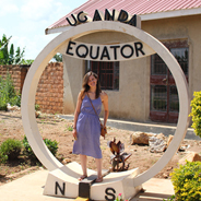 SDSU graduate student Katelyn Sileo at the equator in Uganda