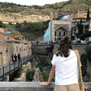 SDSU student Tiana Hodzic looks out over Tbilisi, Georgia