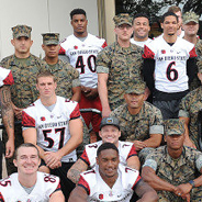 SDSU football players with Marines