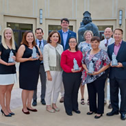 Presidential Staff Excellence Awards winners with SDSU President Adela de la Torre