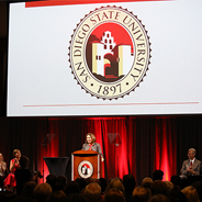 SDSU President Adela de la Torre speaks during the All-University Convocation