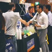 A student interacts with an employer at the SDSU Career Fair. (Credit: SDSU Student Affairs)