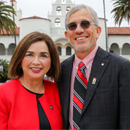 President Adela de la Torre (left) and her husband, Stephen Bartlett, on her first day at SDSU.