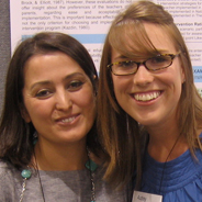 Yasemin Turan, left, and student Audrey Niblock at the SDSU Student Research Symposium with Niblock