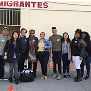 Nola Butler-Byrd (fourth from left) and clinical counseling students in Tijuana