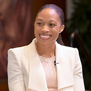 Gema Deleon interviews U.S. track star Allyson Felix during the keynote discussion of the Women in Entrepreneurship and Leadership event.