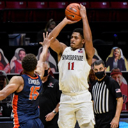 SDSU forward Matt Mitchell takes a jumpshot in a 65-60 victory over Pepperdine University on Dec. 6.