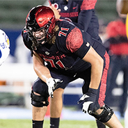 SDSU junior linebacker Caden McDonald (#54) is one of five Aztecs to earn All-MW first team honors in 2020.