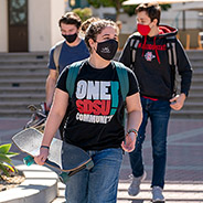 SDSU students wearing masks on campus