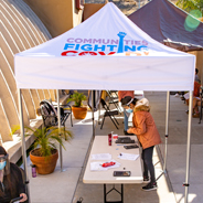SDSU community health workers set up mobile testing sites in some of the hardest hit areas of San Diego County through Communities Fighting COVID! Photo: Eric Zentmyer