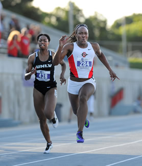 Ashley Henderson, right, at the Mountain West Championships in May.