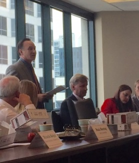 SDSU President Elliot Hirshman spoke to a group of business leaders at the San Diego Regional Chamber of Commerce.