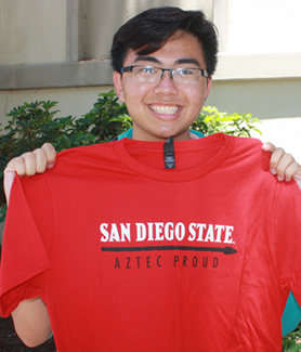 Incoming freshman Tri Nguyen contributed to the Aztec Proud Class Legacy program to fund scholarship for future students.