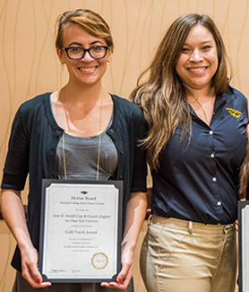 Chapter president Seraphina Solders (far left) accepted the Gold Torch award on behalf of the Jane K. Smith Cap & Gown Chapter at SDSU. (Credit: Mortar Board)