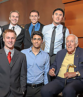 Leonard Lavin (far right) with students from the Lavin Entrepreneur Program. (Credit: Dave Siccardi)