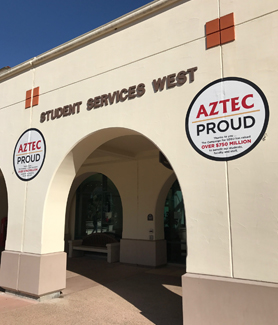 The Aztec Proud logos will appear on 21 buildings on the San Diego campus throughout the spring semester.