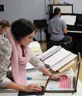 "Aimee Holland (left) works at a rehearsal for the production of ""Jesus Christ Superstar."" (Photo: Lilly Glenister)"